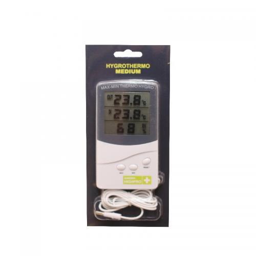 Термометр с гигрометром HYGROTHERMO MEDIUM-TA138-CSTE140225115 Метеостанция с термометром и гигрометром. Позволяет отслеживать температуру и относительную влажность в ежедневном режиме. Есть возможность производить измерения за пределами помещения (теплицы) с помощью выносного зонда длинной 1,5 м.