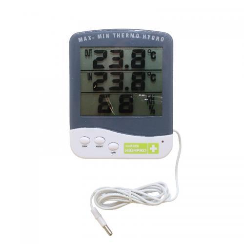 Термометр с гигрометром HYGROTHERMO PREMIUM-TA338-CSTE140225116 Метеостанция с термометром и гигрометром. Позволяет отслеживать температуру и относительную влажность в ежедневном режиме. Увеличенный размер экрана для более удобного пользования. Есть возможность производить измерения за пределами помещения (теплицы) с помощью выносного зонда длинной 1,5 м.