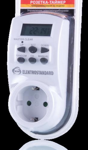 Розетка-таймер Elektrostandard ТМН-Е-4 Модель TMH-E-4 оснащена электронным таймером, который позволяет настроить программу включений/выключений на каждый день недели с точностью до минуты.