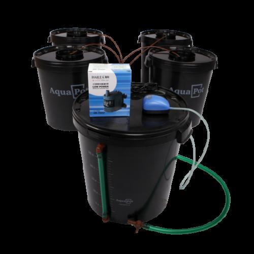 Гидропонная  система AquaPot  XL 4  Совмещенная система гидропоники  предназначена для четырех растений с дополнительным баком для смены раствора. Сочетает в себе простоту и эффективность метода глубоководной культуры с преимуществами капельного полива. В системе автоматически поддерживается одинаковый уровень и состав раствора во всех ёмкостях.