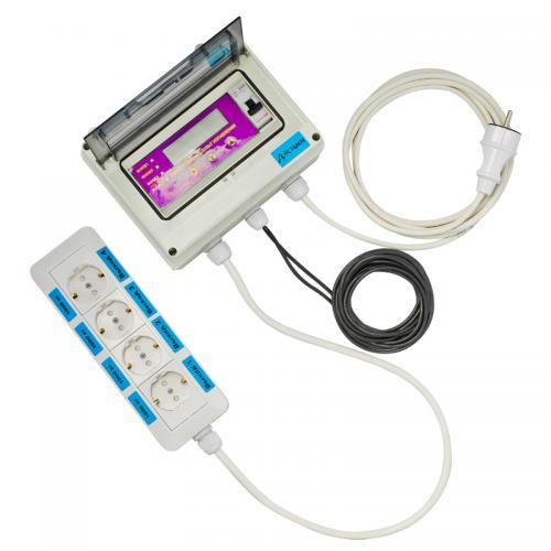 Блок управления универсальный  Универсальный пульт управления – предназначен для управления четырьмя устройствами типа: насосы, обогреватели, кондиционеры, вентиляторы, освещение, и многое другое. На экране, встроенном в пульт, можно контролировать текущую температуру с точностью 0,1 градус с двух датчиков температуры в диапазоне -50 до +125 С.