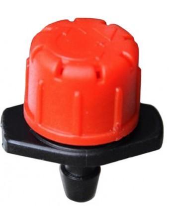 Капельница внешняя регулируемая 0-70 л/ч красная используется в самотечных системах и системах под давлением в режиме капельницы и дождевателя, позволяет задавать необходимый расход воды при поливе, ускоряя или замедляя процесс орошения