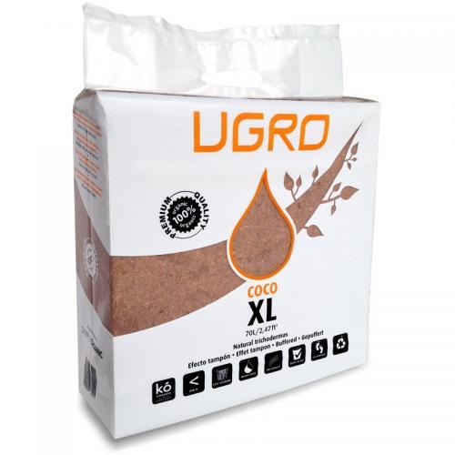 Кокосовый брикет UGro XL Ugro XL представляет собой 5-ти килограммовый брикет прессованной кокосовой «пыли» с низким содержанием кокосовых волокон. Большая упаковка служит для большей экономии, ведь необходимо всего 18 литров воды, чтобы превратить UGro XL в 70 литров высококачественного кокосового «торфа». Данный субстрат подходит для всех видов однолетних и сезонных культур.