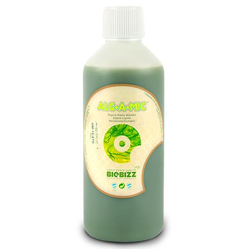 Иммуностимулятор Alg-A-Mic BioBizz 0.5 L  Alg-A-Mic – восстанавливающий продукт из высококачественного органического концентрата морских водорослей.  Alg-A-Mic обладает высоким содержанием микроэлементов, гормонов растительного происхождения, аминокислот и витаминов, необходимых растению. Обеспечивает изобилие зелени и устойчивость растений к заболеваниям.