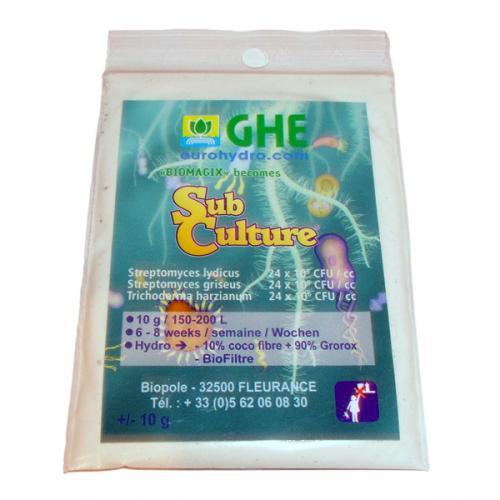 BioMagix - SubCulture GHE 50G (t°C) SubCulture — это смесь благотворных микроорганизмов и бактерий, функция которых защитить корни растения от грибков, плесени и прочих патогенов. Защита корневой системы, особенно на начальном этапе роста, очень важна и играет существенную роль в жизни растения. Также SubCulture активно используется для замачивания и проращивания семян.