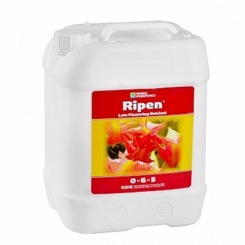Ripen GHE 10 L (t°C) Компонент Ripen является целым комплексом питательных веществ, который используется в случаях, когда растения отцветают или медленно развиваются. Препарат содержит в составе минеральные соли, проходящие предварительную очистку.