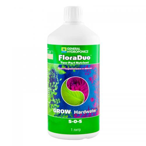 FloraDuo Grow HW GHE 1 L (для жесткой воды), (t°C) FloraDuo — минеральное двухкомпонентное концентрированное удобрение  для быстро растущих растений с явным различием в потребностях при росте и цветении. Содержит биоактивные добавки и стимуляторы FloraDuo Grow HW — компонент с повышенным содержанием азота для «жесткой» воды (солесодержание больше 70 ppm). Пропорции, приведенные в таблице применения, обеспечивают растение всем необходимым для развития стволовой и лиственной массы растения.