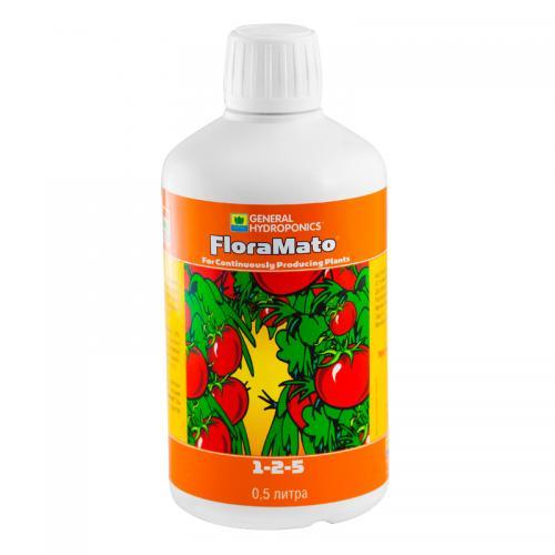 FloraMato GHE 0,5 L, (t°C) FloraMato – концентрированное жидкое удобрение. Создано для улучшения вкуса, увеличения урожайности и полноценной аккумуляции полезных питательных элементов таких плодовых культур как помидоры, огурцы, перцы, бобы, дыни, арбузы, клубника и пр.