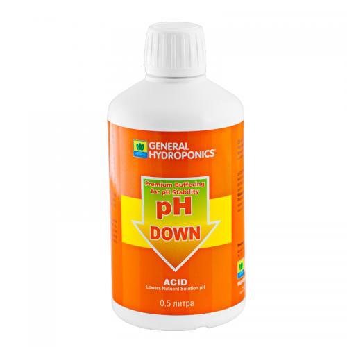 pH Down GHE 0,5 L (t°C) Регулятор уровня pH Down 500 мл от GHE - это последнее слово в области контроля рН фактора. Применяется для коррекции уровня рН воды или питательного раствора на протяжении любой стадии роста растений, а так же для промывки системы и ее частей.