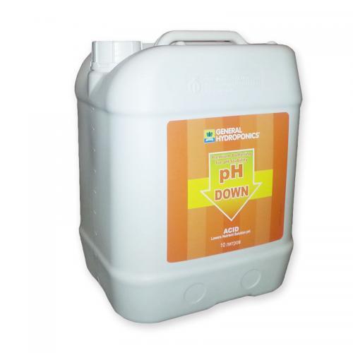 pH Down GHE 10  L  (t°C) Регулятор уровня pH Down 500 мл от GHE - это последнее слово в области контроля рН фактора. Применяется для коррекции уровня рН воды или питательного раствора на протяжении любой стадии роста растений, а так же для промывки системы и ее частей.