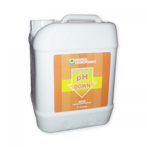 pH Down GHE 5  L  (t°C) Регулятор уровня pH Down 500 мл от GHE - это последнее слово в области контроля рН фактора. Применяется для коррекции уровня рН воды или питательного раствора на протяжении любой стадии роста растений, а так же для промывки системы и ее частей.