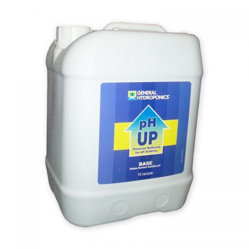 pH Up GHE 10 L  (t°C) Повышает уровень pH раствора особенно полезно для садоводов, использующих Обратный Осмос, или дестилирированую воду. Эта новая версия содержит силикат, чтобы улучшить окружающую среду Вашего растения.
